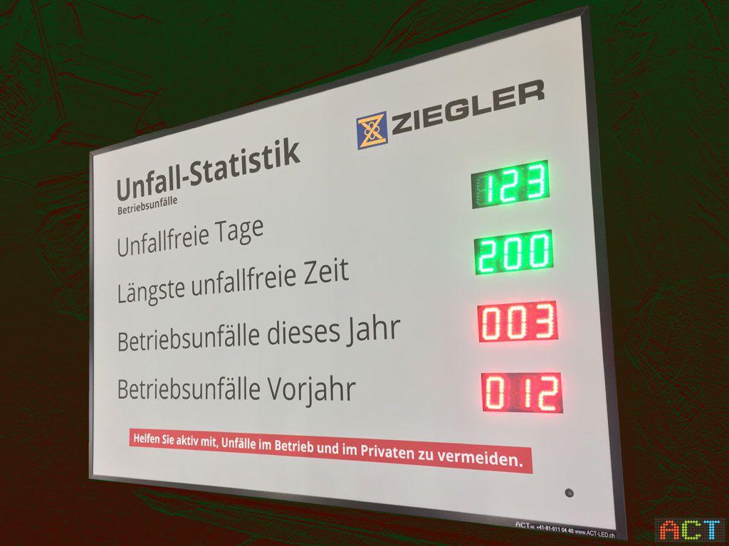 ACT GmbH LED-Displays - Ziegler AG mit Unfallfrei-Tagesanzeige