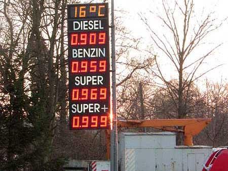 Preisanzeige und Temperaturanzeige