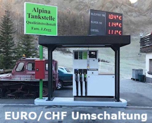 Tankstellen-Preisanzeige mit zwei Währungen